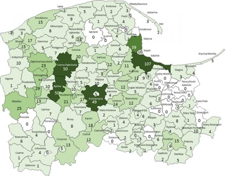 Mapa pokąsań przez kleszcze w woj. pomorskim w 2016 roku (WSSE Gdańsk)
