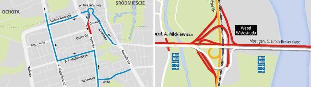 Wisłostrada, rondo Daszyńskiego, Puławska. Weekend z utrudnieniami
