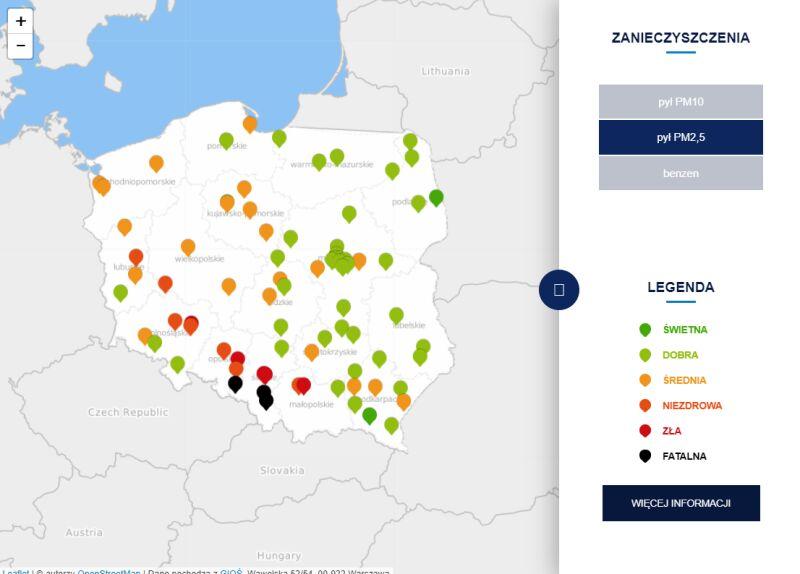 Stężenie pyłu PM2,5 o godzinie 21 (tvnmeteo.pl za GIOŚ)