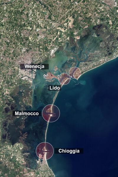 Rozmieszczenie czterech bram u wybrzeży Wenecji (NASA, tvnmeteo.pl)