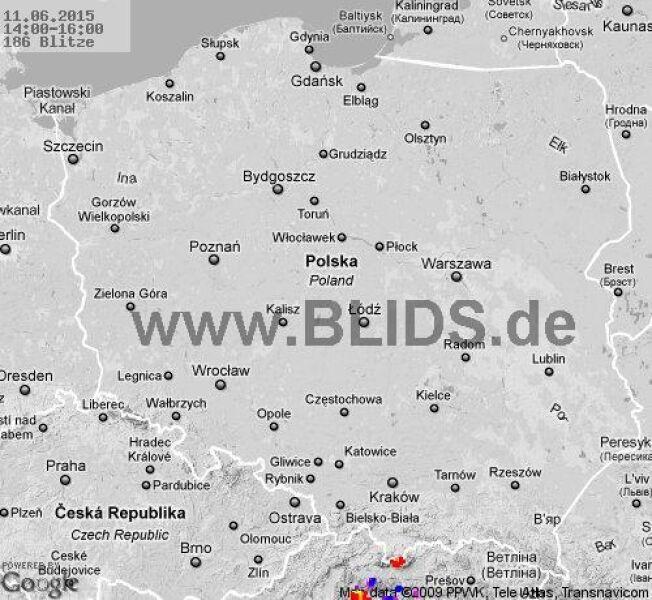Wyładowania atmosferyczne na terenie Polski w godz. 14.00 - 16.00 (blids.de)