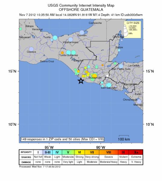 Gwiazdką zaznaczono epicentrum trzęsienia ziemi (USGS)