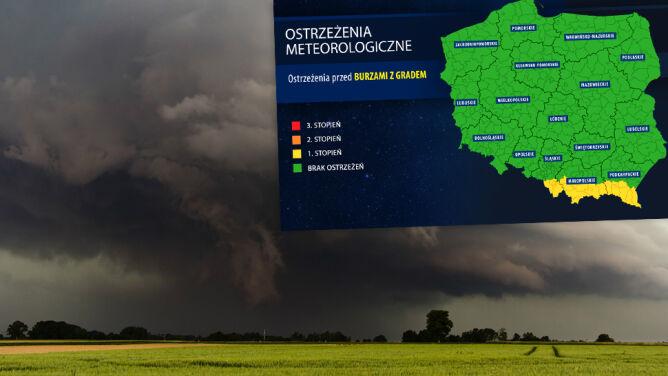 Burze na południu Polski, miejscami spadnie grad. Obowiązują ostrzeżenia