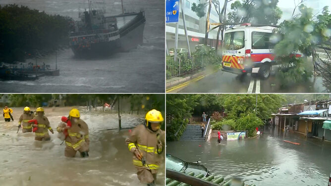 Dźwigi waliły się na ulice, wiatr przemieszczał samochody. Tajfun Hoto dotarł do Hongkongu