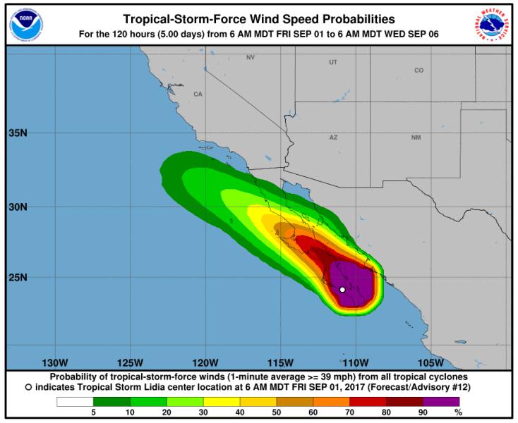 Siła burzy tropikalnej Lidia