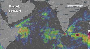 Prognozowane opady deszczu w rejonie Morza Arabskiego (Ventusky.com)