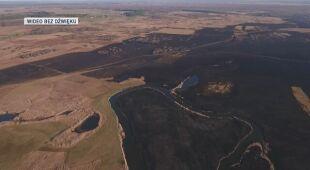 Widok z drona na spalone tereny Biebrzańskiego Parku Narodowego