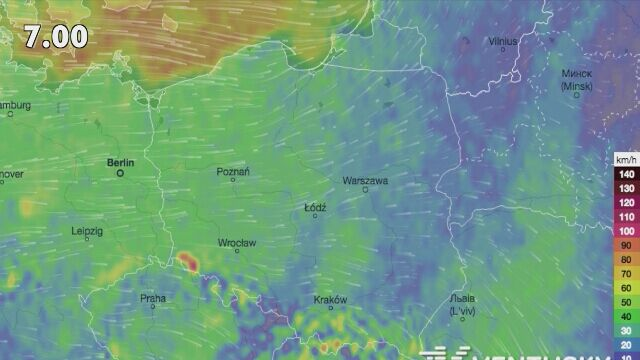 Predkosc Wiatru W Polsce Zrodlo Ventusky