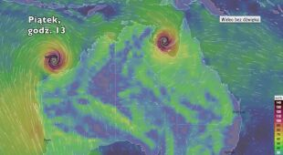 Prawdopodobne trasy cyklonów Trevor i Veronica (Ventusky.com)